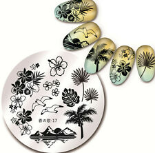 60Harunouta-17 Round Nail Art Stamping Image Plate Stencil Hawaii Sea Mew Design