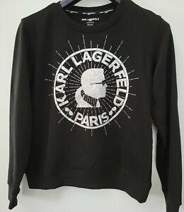 Karl Lagerfeld Paris Women's Crewneck Black Sweatshirt - XS