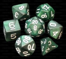 New 7 Piece Polyhedral Dice Set - Tangled Thistle Dark Green Marble - Green Bag