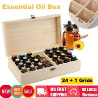 25 Slots Wooden Essential Oil Storage Box Aromatherapy Container Organizer US
