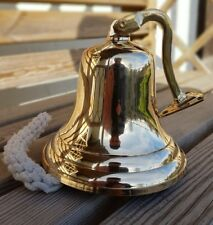 "6"" BRASS SHIP BELL WALL HANGING BRACKET PUB SCHOOL DINNER New"