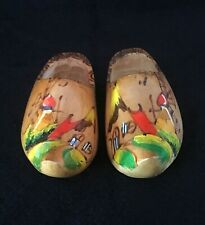 Beautiful Vintage Wooden Clogs Hand Made Hand Painted From Holland