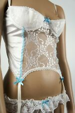 Korsage mit Strapshalter + Höschen * Weiß Hellblau * Hochzeit Glamour * Gr 80A