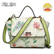 Floral Print Pattern Women Designer Wing Style Satchel Shoulder Tote Bag Handbag
