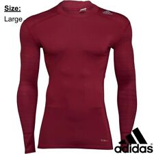 Adidas Men's TechFit T-Shirt Long Sleeve Top Mystery Ruby (Large) - BRAND NEW