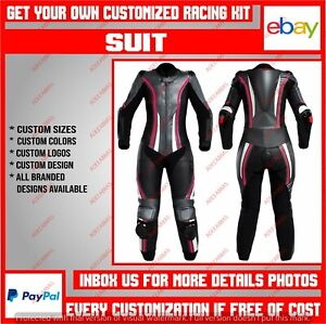 Women Motorbike Suit Motorcycle Riding Leather Racing Suit Custom Made 1 & 2 Pc