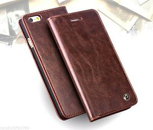 Premium Cowhide Real Leather Wallet Flip Case for iPhone 6 6S Amazing Gift QST2