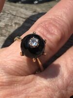 14KT YELLOW GOLD  Black Onyx SPHERE RING WITH INSET DIAMOND  - FREE SHIPPING