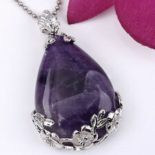 Natural Amethyst Gemstone Teardrop Flower Pendant Bead for Necklace Jewelry DIY