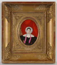 """Portrait of an Educated Lady"", French Miniature on Porcelain, 1830s"