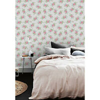Little flowers pink roses Non-woven wallpaper pink and green wall mural large
