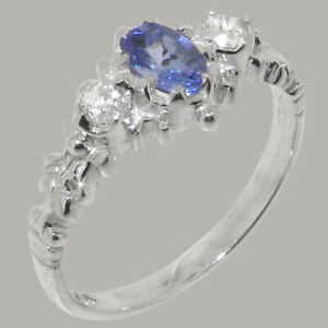 Solid 925 Sterling Silver Natural Tanzanite & Diamond Womens Trilogy Ring