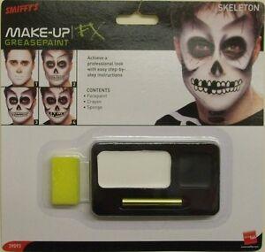 Halloween Fancy Dress Skeleton Make Up Face Paint Set & Sponge by Smifffys