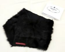 100% Auth PRADA SPORT Ladies Collar Muffler Scarves 100%Dyed Kid Fur Black Italy