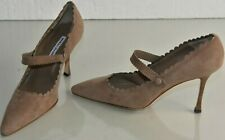 NEW Manolo Blahnik Suede Mary Jane Pumps BB Heels Taupe Beige Nude Shoes 40.5
