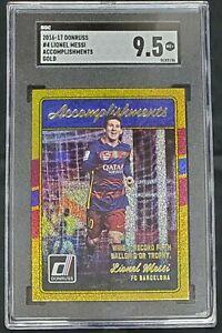 2016-17 Panini Donruss soccer Lionel Messi Barcelona Accomplishment GOLD SGC 9.5