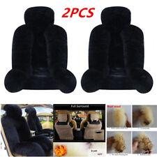 2Pcs Black Australian Sheepskin Fur Long Wool Car Front Seat Cover Keep Warming