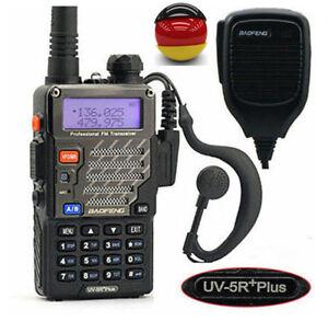 BaoFeng UV-5R Plus + PTT Mikrofon Kombo VHF/UHF Walkie Talkie Hand-Funkgerät
