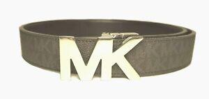 Michael Kors Mens MK Silver Logo Reversible Belt Brown/Black Size 38 New $79