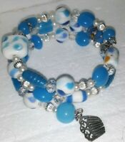New Memory Wire Bracelet With blue, Silver, and white toned glass beads Handmade