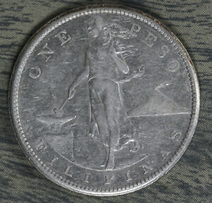 Nice 1908-S Philippines One Peso Silver Coin!