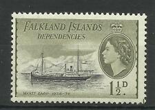 Falklands 1954 Sg G28, 11/2d Black & Olive, Lightly M/M. [107]