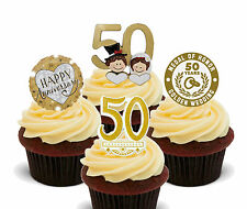 Gold / Golden Wedding Anniversary Edible Cupcake Toppers, Stand-up 50th