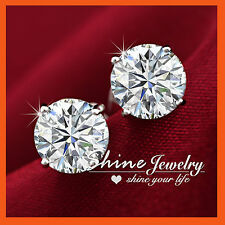 9K WHITE GOLD FILLED SILVER Round STUD SIMULATED DIAMOND SOLID MENS LADY EARRING