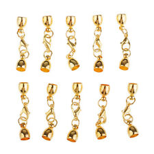 10x Copper Bell Shape Kumihimo Leather Cord End Caps with Lobster Clasp Gold