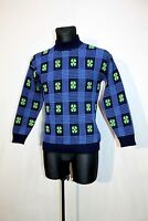 Vtg G.J Mens Denmark Knit Retro Jumper Blue Green Pure Wool Fair isle Nordic M