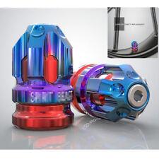 2PCS CNC Motorcycle Tire Accessories Valve Cap Wheel Decoration Cover Blue+Red