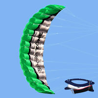 NEW 2.5m Dual Line Parafoil Parachute Stunt Sport Beach Outdoor Toys GREEN Kite