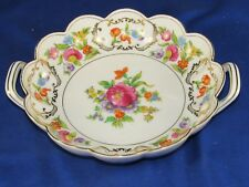 "Noritake ""M"" 2-Handle Scallop Bowl,Painted Wild Flowers Blue Red Green Morimura"