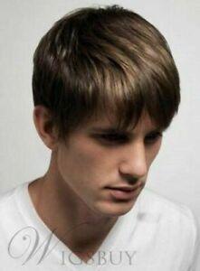 100% Human Hair Natural Short Straight Light Brown Fashion Men's Wig