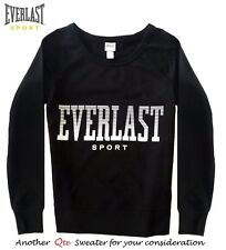 EVERLAST SPORT NEW Black Mid-Weight French Terry Pullover Sweat Shirt Top M QCO