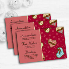 Modern Red Fun Love Hearts Personalised Wedding Guest Information Cards