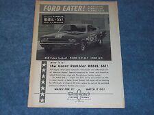 "1967 Grant Piston Rings Vintage Ad Rambler Rebel SST Funny Car ""Ford Eater!"""