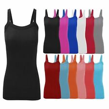 New Women's Ladies Stretchy Ribbed Vest Top UK 8 - 22