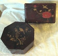 BOITES A BIJOUX/COUTURE EN BOIS LAQUE SUBAKO/WOODEN BOX JAPANESE BIRDS SIGNED
