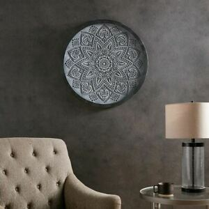 Luxury Grey Medallion Carved Wall Art Panel Decor - 25x25""