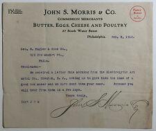 Antique Letterhead, John S. Morris & Co., Butter, Eggs, Cheese & Poultry, 1912