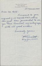 Brigadier General HENRY D. LINSCOTT Autograph Letter Signed - 1949