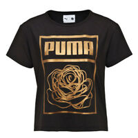 Puma X Careaux Logo Tee Womens Top Cotton T Shirt Black 571689 05 DD40