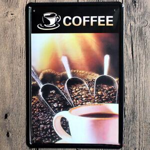 Blechschild Kaffee 20x30cm Metallschild Kaffeebohnen Deko Küche Nostalgie