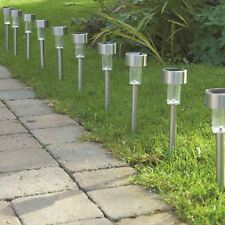 10 x Solar Powered Garden Lights Post Patio Outdoor Led Lighting Stainless Steel