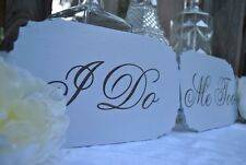 I Do & Me Too Wedding Sign Set, Laser Etched Handmade Wedding Decor.