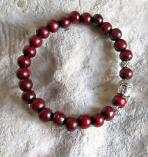 Dark WOOD Stretchy POWER BEAD / Buddha Head MALA BRACELET - Small Freesize