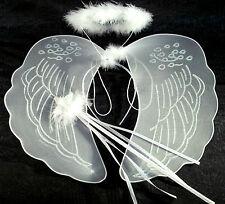 Large bianca ali d'angelo, ALONE e Wand Costume Fata Set natività ANGELO
