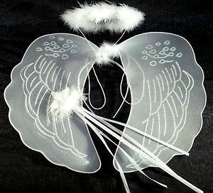 Large White Angel Wings, Halo and Wand Fancy Dress Fairy Set Nativity Angel