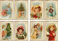 Christmas vintage inspired cards angel girl set 8 with ivory mailing envelopes
